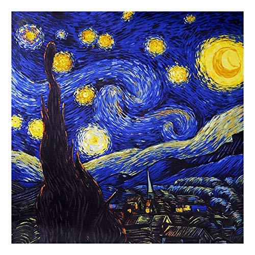 laprée - Foulard Femme en Soie Carré de Soie Reproduction Tableau 90 * 90cm - La Nuit Étoilée Vincent Van Gogh