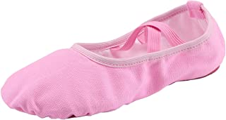 staychicfashion Women's Canvas Ballet Slippers Practice Yoga Flat Shoes Split Belly Shoes(10.5, Pink Band)