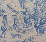 Blue Toile Fabric | Direct from France (Toile De Jouy) | Authentic French Designer 100% Cotton Print | 55 Inches (140cms) Wide ~ Sold by The Yard