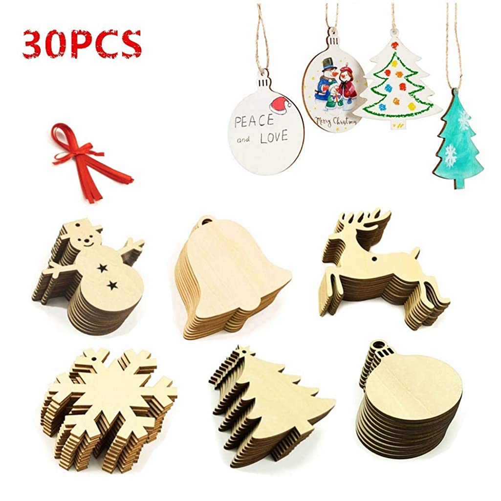 LEWOTE Wooden Ornaments 30Pcs[Unfinished], Craft Predrilled Wood Slice Christmas Tree Hanging Embellishments Decoration DIY Souvenir Gift for Kids