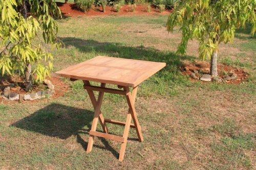 LINDER EXCLUSIV LINDER EXCLUSIV Echt Teak Tisch Gartentisch Teaktisch Klappbar 70 x 70 x 75 cm TH025