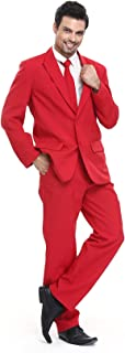 Mens Party Suit Solid Color Leisure Suit for Holiday Party Jacket with Tie & Pants