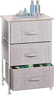 mDesign Comoda con 3 cajones - Organizador de armarios y vestidores en tela - Cajoneras para armarios para el dormitorio ...