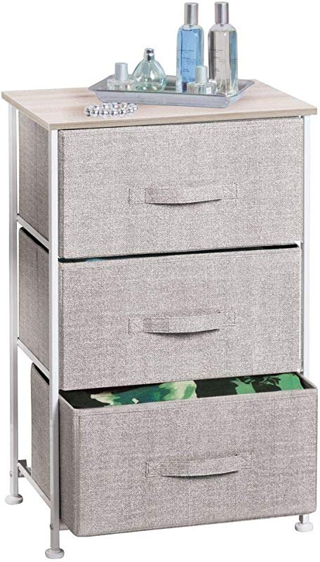 MDesign Vertical Dresser Storage Tower Sturdy Steel Frame Wood Top Easy Pull Fabric Bins Organizer Unit For Bedroom Hallway Entryway Closets Textured Print 3 Drawers Linen Natural