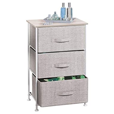mDesign Vertical Dresser Storage Tower - Sturdy Steel Frame, Wood Top, Easy Pull Fabric Bins - Organizer Unit for Bedroom, Hallway, Entryway, Closets - Textured Print - 3 Drawers - Linen/Natural