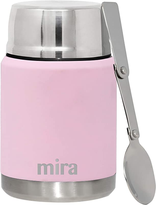 MIRA Lunch Food Jar Vacuum Insulated Stainless Steel Lunch Thermos With Portable Folding Spoon 17 Oz 500 Ml Pink