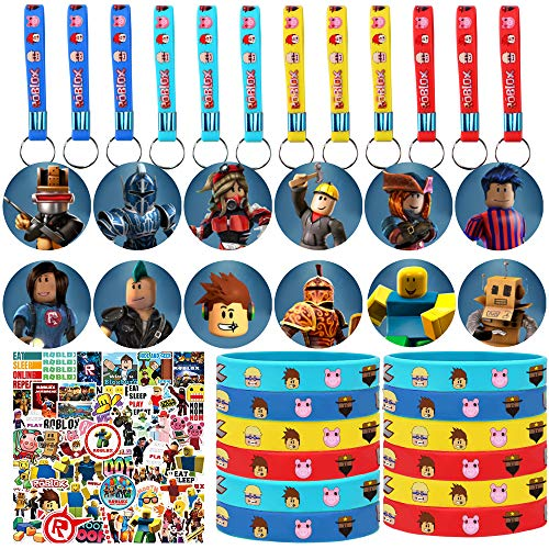 Robot Blocks Party Favor Supplies, 86 Pack Birthday Party Favors Set Include 12 Key Chain, 12 Bracelets, 12 Button Pins, 50 Stickers for Video Game Fans
