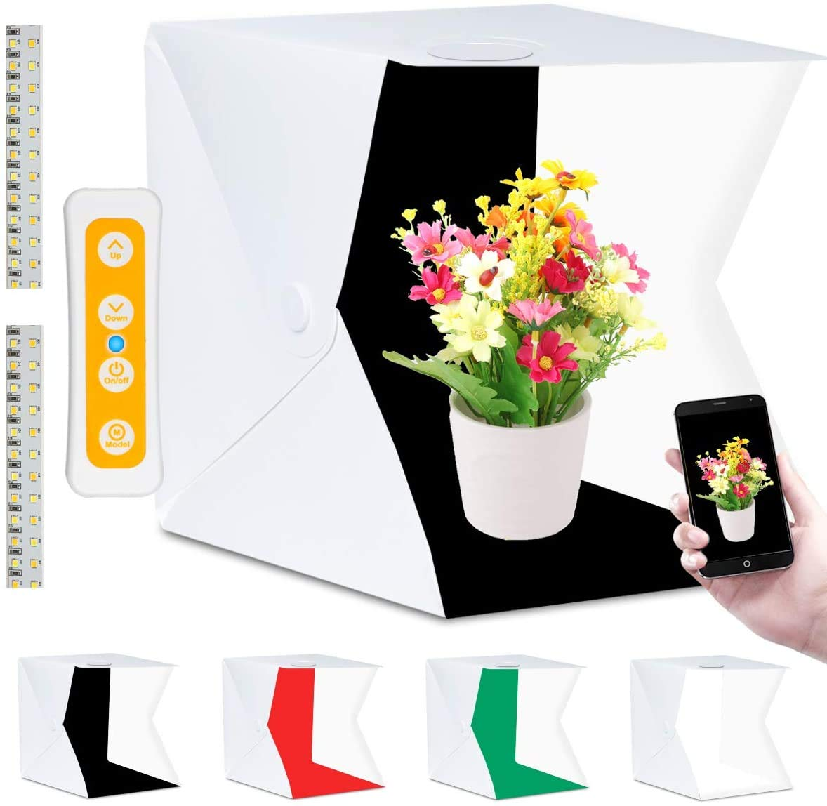 Caja de luz, estudio fotográfico 40 x 40 cm, con 3 Colores de Luz, 140 Ledes, Portátil Estudio fotografía, Plegable Light box, Cubo de Luz con 4 Fondo (Blanco/Negro/Rojo/Verde): Amazon.es: Electrónica