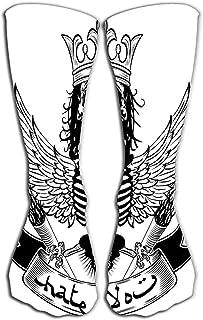 Tonesum, Calcetines finos y altos Calcetines largos de compresión graduada para hombres,mujeres y niñas 50 CM Cráneo Monocromo Hombre universitario Niño Diseño Huesos Marca Peligro