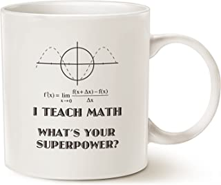 MAUAG Funny Teacher Coffee Mug Christmas Gifts, I Teach Math What's Your Superpower Unique Teachers' Day Gifts for Teacher Cup White, 11 Oz