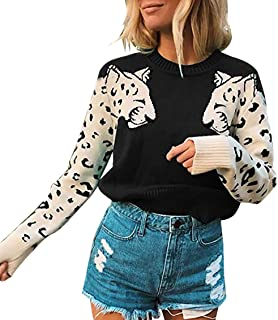 BTFBM Women Leopard Sweaters 2020 Printed Knitted Long Sleeve Crew Neck Fall Winter Chunky Casual Pullovers Tops Jumper