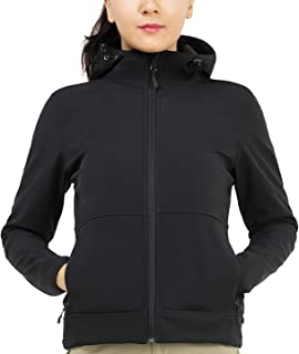 Women's Hooded Softshell Jacket Tactical Jacket with Fleece Lined for Hiking Travel Work Casual, Water Resistant, Black