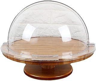 YNHNI Cubierta de conservación de sándwich de Cocina, Ensalada de plástico Premium Postre cúpula bistec de Madera Placa de...