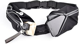 Joly Joy Cinturón Deportivo con 2 Bolsas Impermeables Bolsa para Doporte Ajustable con Diseño Reflexivo Ideal para Guardar Celular, Dinero, Llaves para Gimnacio Ejercicio Caminar Correr,etc.