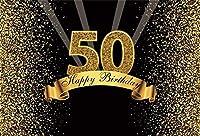HDゴールデン50歳の誕生日の背景7x5ftキラキラ輝くスパンコールの写真の背景50歳の誕生日の装飾男性女性レディ芸術的ポートレート写真撮影小道具の壁紙