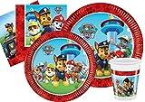 Ciao- Kit Mesa Fiesta Party Patrulla Canina Paw Patrol Let's Roll para 24 personas (112 piezas: 24 platos de papel Ø23cm, 24 platos de papel Ø20cm, 24 vasos 200ml, 40 servilletas de papel), Y4625