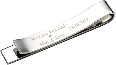 Zysta Free Engraving - Personalized Custom Mens High Polished Stainless Steel Mens Tie Bar Clip for Regular Ties + Gift Box