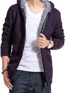 Sodossny-AU Men's Hooded Slim Thicken Knitting Fleece Cardigan Sweaters Jackets