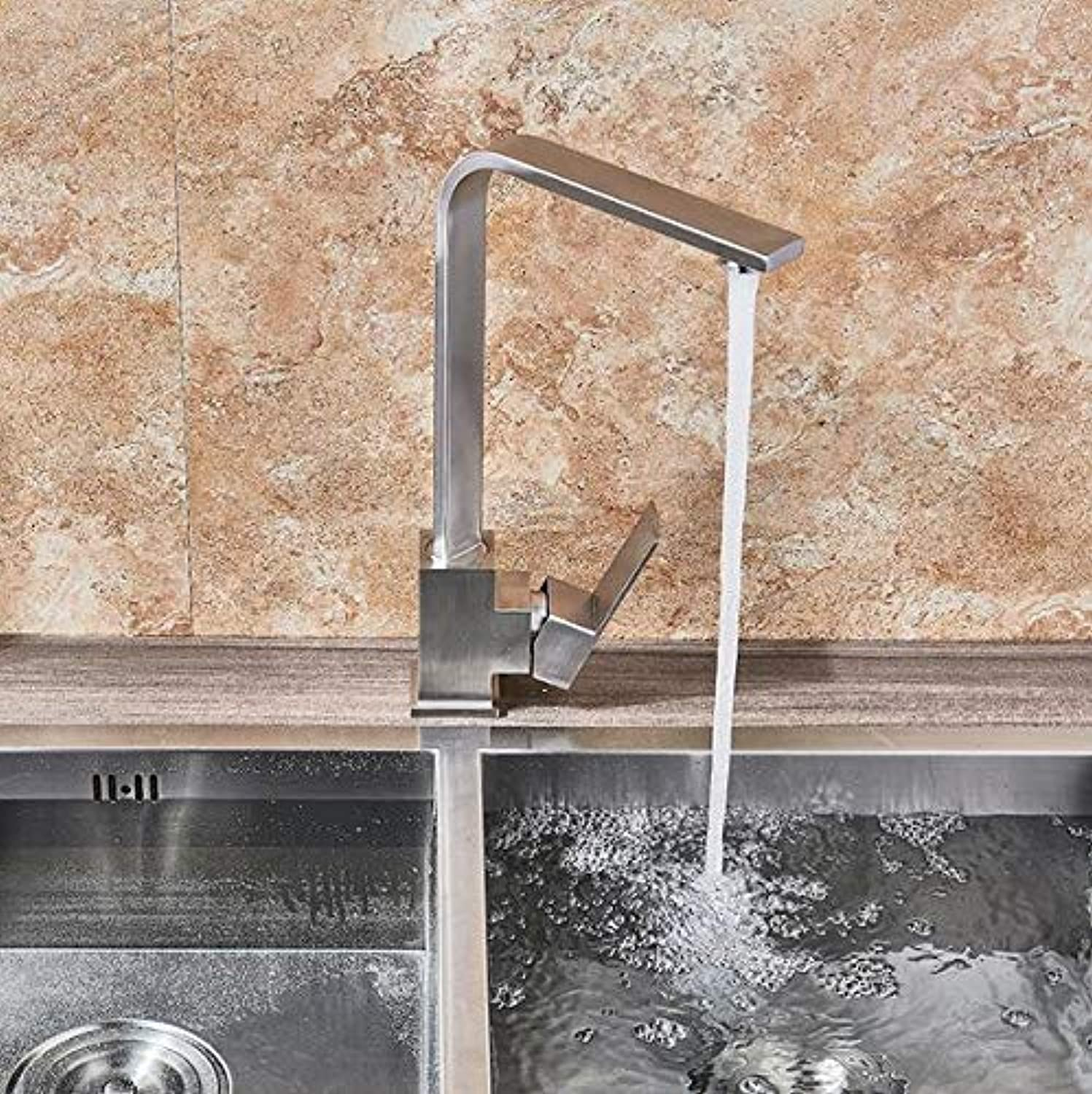 Makej Kitchen Faucet Chrome Brushed Brass Deck Kitchen Sinks Faucet High Arch 360 Degree redating Swivel Cold Hot Mixer Water Tap
