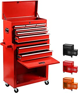Tool Box Removable Tool Chest Top & Bottom 2 in 1 Rolling Tool Box Top Tray with Locking System Tool Storage Cabinet Portable Tool Organizer(Red)