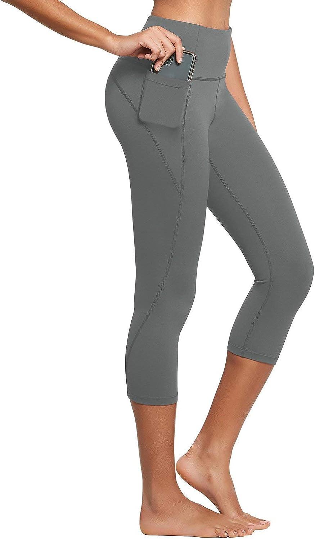 BALEAF Women's High Waisted Yoga Capris Leggings w Side Pockets Workout Cropped Leggings Running Capris Pants