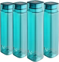 Cello H2O Squaremate Plastic Water Bottle, 1-Liter, Set of 4, Aqua Blue