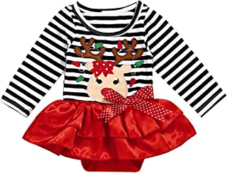 Christmas Outfits Newborn Baby Girls Long Sleeve Striped Deer Print Dress Red Skirt Christmas Clothes
