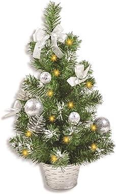 Riffelmacher Mini árbol de Navidad iluminado, 50 cm, varios colores, con cadena de luces, lazos y bolas de navidad