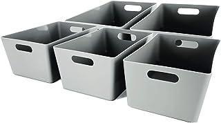 Lot de 5 paniers de rangement en plastique gris pour studio - Boîtes de rangement pour la maison ou le bureau - Convient p...