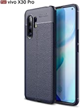 For Vivo X30 Pro Litchi Texture TPU Shockproof Case New(Black) LKay (Color : Navy Blue)
