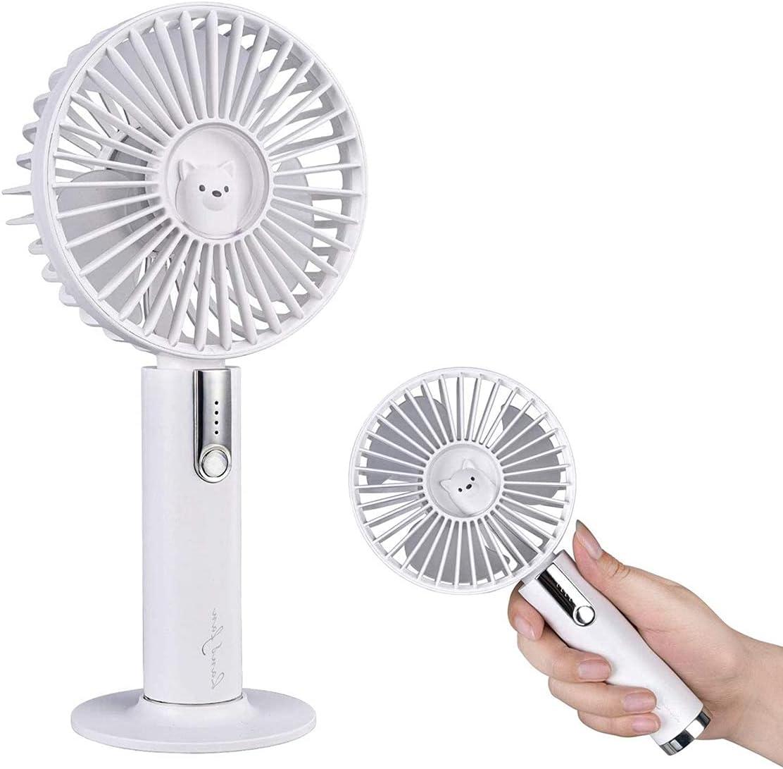 eLinkSmart Handheld Fan, 3 Speed Adjustable, Powerful Airflow, USB Rechargeable Mini Portable Fan with Desktop Base for Home Office Travel Outdoor, Mute Brushless Motor, White Cute Bear