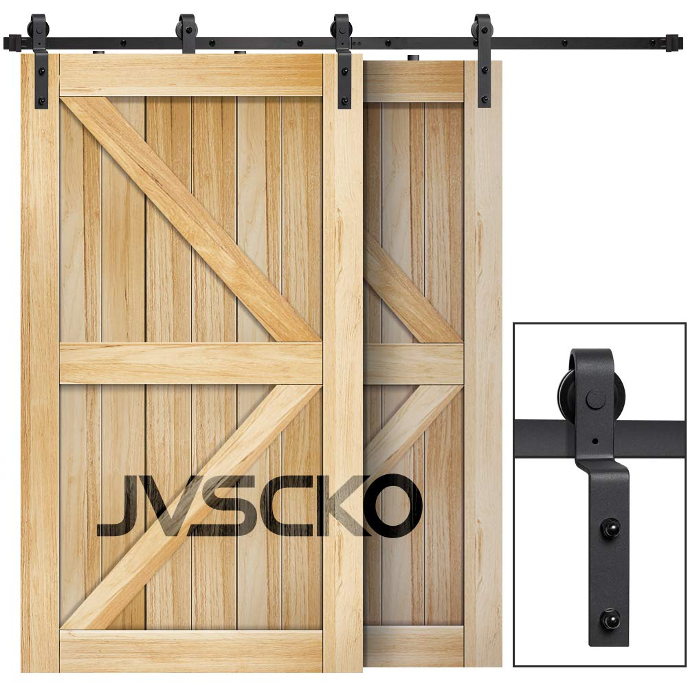 """JVSCKO 10ft Bypass Sliding Barn Door Hardware Kit - Upgraded One Piece Flat Track for Double Wooden Doors-Smoothly, Ultra Quiet and Easy to Install - Fit 60"""" Wide Door Panel"""