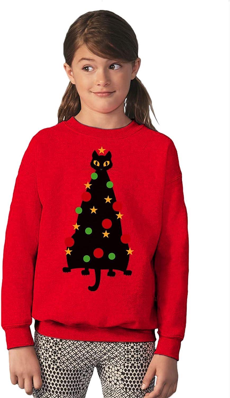Vizor Funny Ugly Xmas Party Sweater for Boys Girls Kids Youth Cat Christmas Tree Sweatshirt
