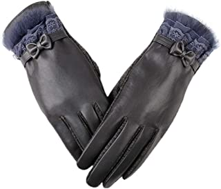 Biruil Women Gloves PU Leather Bow Lace Touchscreen Winter Texting Outdoor Warm Lined Mitten