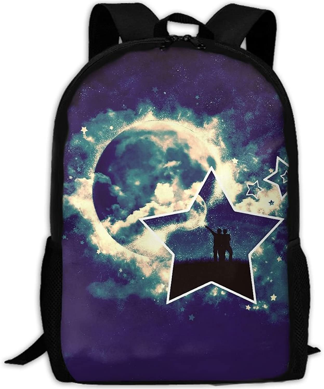 Adult Backpack Star Shape College Daypack Oxford Bag Unisex Business Travel Sports Bag with Adjustable Strap