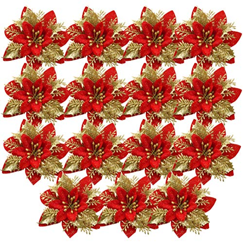 HQdeal 15Pcs Adornos Arbol Navidad Flor de Pascua Artificial Navidad, Adornos de Navidad para el Arbol,Decoración Arbol de Navidad,Guirnaldas Adornos Navideños Arbol Decoraciones Fiesta Dorado (Rojo)