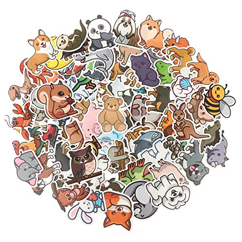 CNSJ 200 Pieces Animal Stickers Cartoon Dog Animal Stickers Waterproof Animal Decals, Cartoon Decoration Stickers for DIY Decorations Luggage Bicycle Mobile Phone Guitar