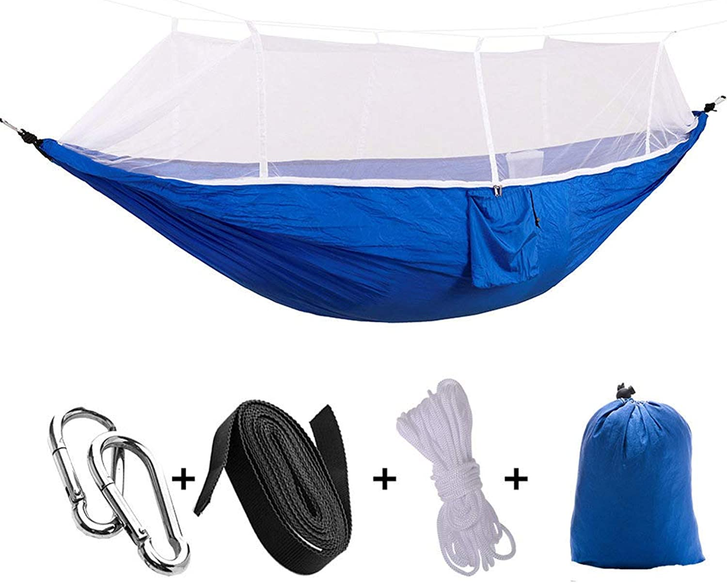 Outdoor Parachute Cloth Hammock with Mosquito Net Ultra Light Double Multicolor Comfortable Camping Aerial Tent,blueewhitenet
