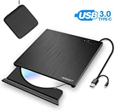 External CD DVD Drive, Hobest Portable USB-C & USB 3.0 CD DVD +/-RW ROM Burner/Writer Optical Drive, High Speed Data Transfer for PC Laptop Desktop MacBook Mac Windows (with Protective Carrying Case)