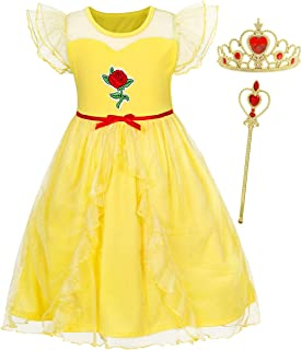 Little Girls Princess Belle Costumes Dress Halloween Birthday Party Cosplay Outfits Layered Accessories 2-10 Years