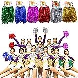 MOAMUN 24 Piezas Pompones Cheeleading para Escuadrón Cherring, Plástico Metálico Animadora Pompones de Aluminio con Mango para Equipo Deportivo Spirit Cherring Party Dance Decoration (Mezcla)