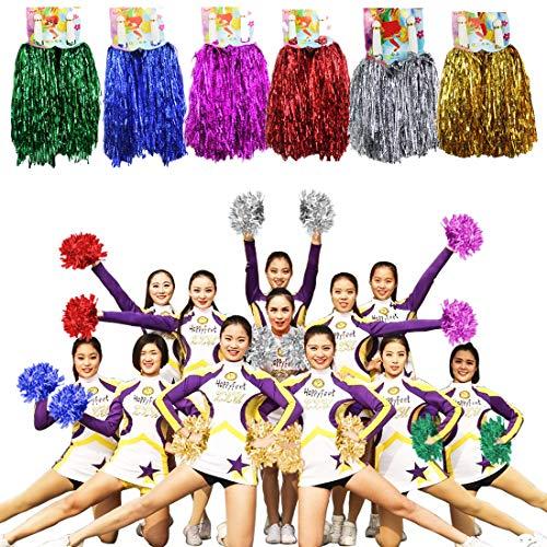 MOAMUN 24 STÜCKE Cheeleading Pom Poms für Cherring Squad, Kunststoff Metallic Cheerleader Folie Pompons mit Griff für Sport Team Spirit Cherring Party Dance Dekoration (Mischfarbe)