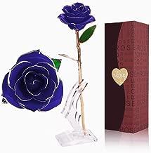 BOBOH Rosa de Oro 24K,Rosa Eterna Flores Chapadas en Oro con Base Soporte Transparente y Caja de Regalo para el Día de San Valentín,el Día de Madre, Mujer,Novia, Esposa,Aniversario,Cumpleaños Regalo