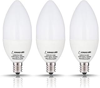 LOHAS Candelabra LED Bulb Daylight, 60W Candelabra LED E12 Base 5000K(6W),