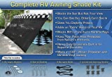 RV Awning Shade Complete Kit 8'x20' (Black)