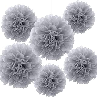 Bining Paper Pom Poms Hanging Paper Flower Ball Wedding Party Celebrations Decorations Outdoor Decoration Flowers Craft for Graduation Party Birthday party Adult Ceremony,6 Piece