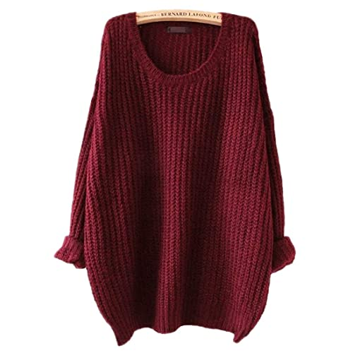 10772d232 ARJOSA Women s Fashion Oversized Knitted Crewneck Casual Pullovers Sweater