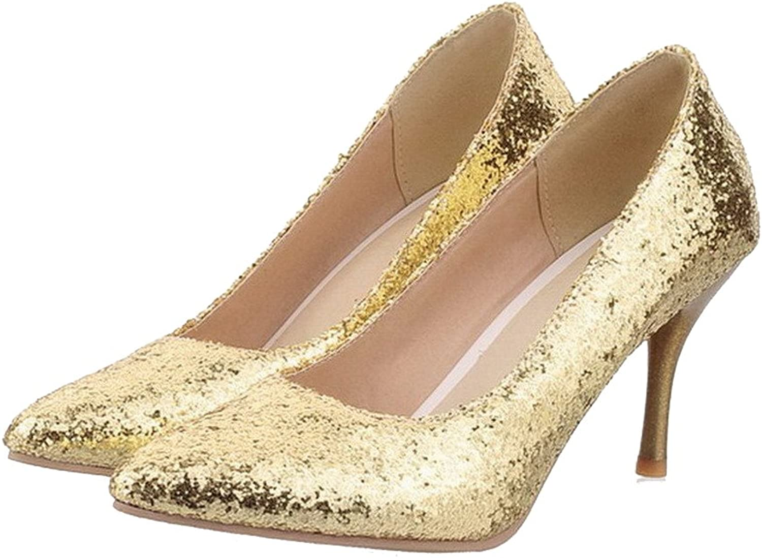 AmoonyFashion Womens Closed Pointed Toe High Heel Stiletto PU Frosted Solid Pumps with Sequin, gold, 10 B(M) US