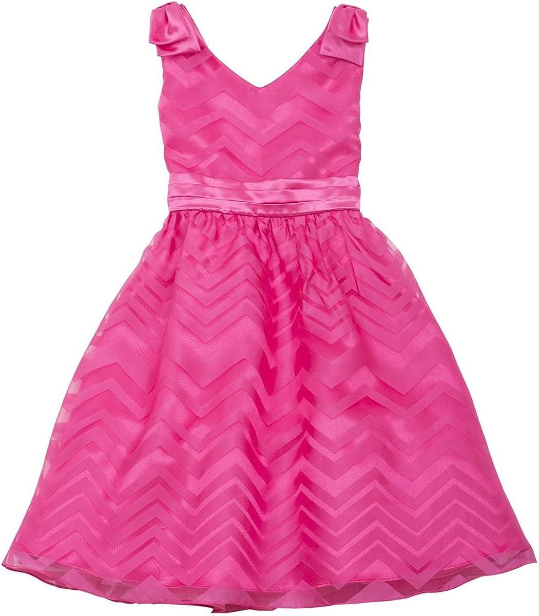 Rare Editions Little Girls Fuchsia Burnout Chevron Stripe Bow Shoulder Dress