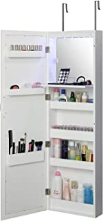 Abington Lane Over The Door Makeup Organizer - Beauty Armoire with LED Lights and Stowaway Mirror for Makeup Storage - Elegant White Finish - (Includes Wall Mounted Option)